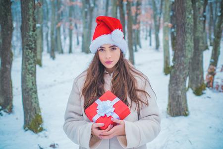 Portrait of a beautiful woman dressed a coat. Beauty Winter Girl in frosty winter Park. Vintage winter person. Enjoying nature wintertime.