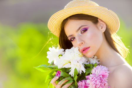 Memorize this moment. Summer girl with long hair. Woman with fashion makeup. Natural beauty and spa therapy. Spring woman. Springtime and vacation. face and skincare. Travel in summer.