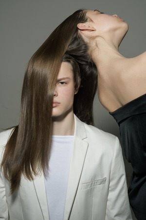 Man and woman. Beauty and fashion. Fashion couple in love. Hair style and skincare. Friendship relations. Family bonds. new style new me. hairdresser salon and male barber service. Stock Photo