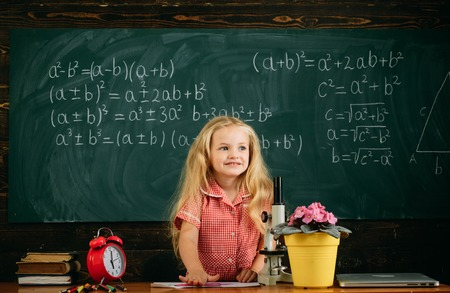 Little girl have lesson on classroom chalkboard. Primary school child in classroom.