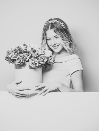 pretty girl with flower box Stock Photo