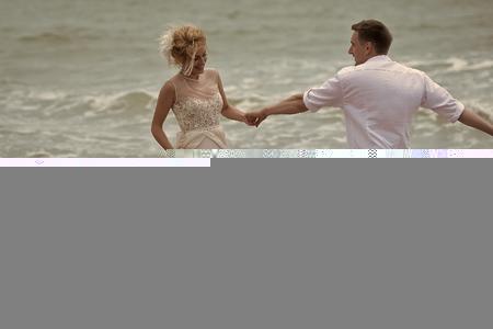 Lovely wedding pair on beach