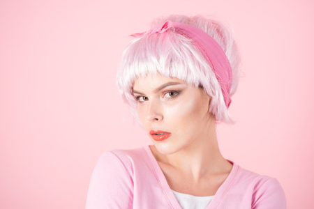 retro woman in pink color. Glamour fashion model. Woman. summer fashion style. Beauty salon and hairdresser. Fashion portrait of woman. Sexy fashion girl with glamour makeup. copy space Stock Photo