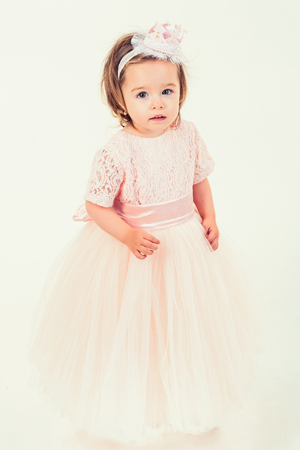 98395ea30792 Pretty little girl in pink dress. small princess. kid fashion and beauty.  Happy