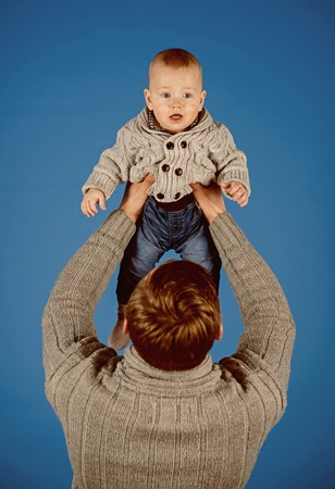 My dad is my best mate. Father and son. Handsome man with little child. Father and child. Family relations. Fathers or family day. Happy international childrens day Stock Photo