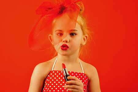 Retro girl fashion with cosmetics, beauty. retro girl with red lips. Stock fotó