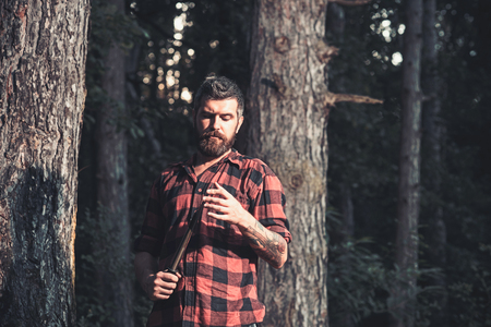 Young handsome attractive bearded model man in woods.