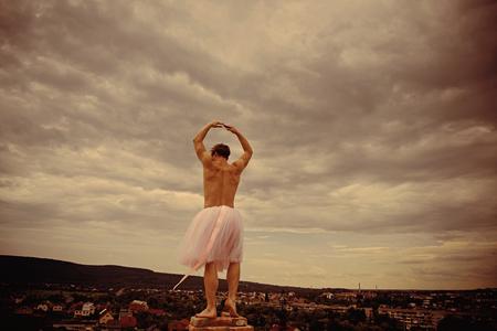 Crazy ballerina. drag queen. Funny man freak. Man dancing in tutu in ballet studio. Man in ballerina skirt outdoor. Inspiration and dreaming. Enjoying amazing party. Going crazy. dance is my life