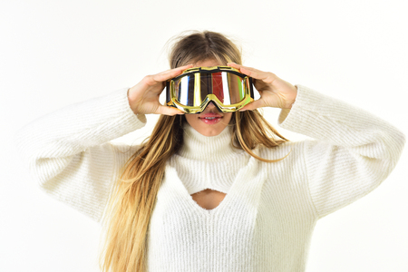 I see you. Ready for holyday. Ski resort and snowboarding. Happy winter holidays. Girl in ski or snowboard wear. Winter sport and activity. Sexy woman in winter clothes. Banque d'images - 115469626