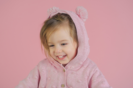 having fun. little girl child smiling. childhood and happiness. small happy girl. autumn and spring kid fashion. Funky girl. pajama fashion.