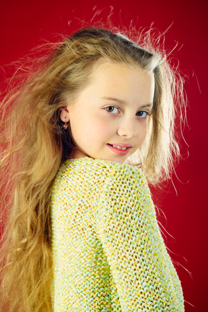 kid hairdresser. Skin and hair care. childhood of happy kid. Fashion portrait of little girl. beauty. small girl with long hair. Young expertise. Feeling free and happy.
