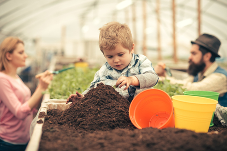 little farmer. little farmer work with soil. little farmer in greenhouse. little farmer child planting flowers