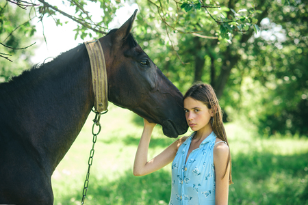 Having the truest friend. Adorable horse owner with her pet. Young woman with horse on summer landscape. Pretty girl at horse ranch. Making friends with horse, friendship and love. Stock Photo