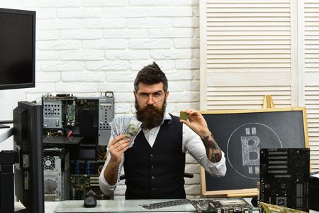 Start mining immediately. Virtual or digital currency. Bitcoin miner man in server room. Bearded man bitcoiner. Bearded businessman with computer circuits and dollars. Cryptocurrency mining hardware.