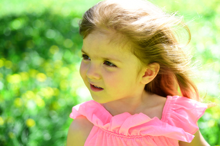 Spring is in my heart. Summer girl fashion. Happy childhood. Springtime. weather forecast. face skincare. allergy to flowers. Small child. Natural beauty. Childrens day. Little girl in sunny spring.