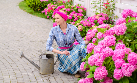 Greenhouse flowers. Flower care and watering. soils and fertilizers. woman care of flowers in garden. happy woman gardener with flowers. hydrangea. Spring and summer. Working in green environment.