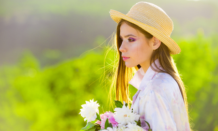 Face and skincare. Travel in summer. Summer girl with long hair. Spring woman. Springtime and vacation. Natural beauty and spa therapy. Woman with fashion makeup. romantic woman outdoor.