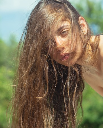 Spring woman. Springtime and vacation. Face and skincare. Time to relax. Woman with fashion makeup. Natural beauty and spa therapy. Summer girl with long hair. Beautiful female.