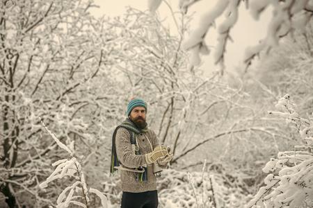 Temperature, freezing, cold snap, snowfall. Stock Photo