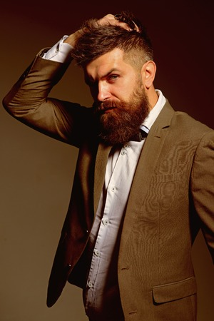 The fashion business not the frothy world of glamour. Bearded man after barber shop. Man with long beard in business wear. Business as usual. Mens fashion. Never ask a barber if you need a haircut
