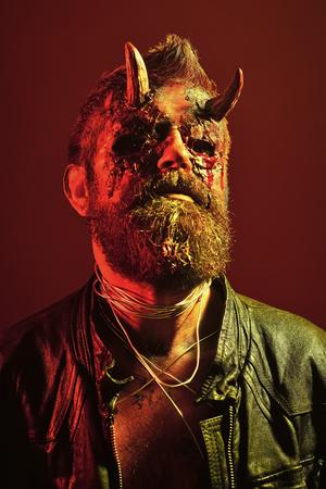 Halloween man demon on red background