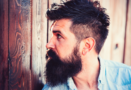 Must have beard. Handsome man with fashion beard and mustache. Bearded man with stylish hair. Barber shop or barbershop. Beard fashion trend. Barber is important in a mans life