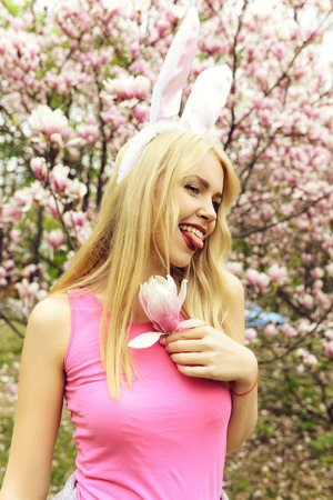 Spring, easter holidays celebration, Happy woman in bunny ears