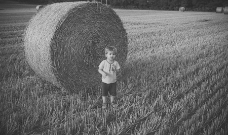 Adorable little kid boy having fun with hay bales