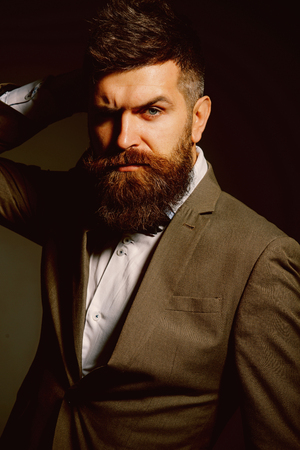 More then a barber. Mens fashion. Bearded man after barber shop. Man with long beard in business wear. Business as usual. Fashion is a business too