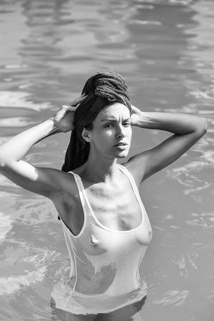 pretty woman in swimming pool