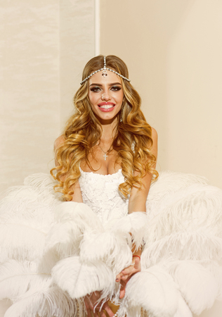 Happy bride with bridal makeup look. Bride in white wedding dress. Love yourself forever Banco de Imagens