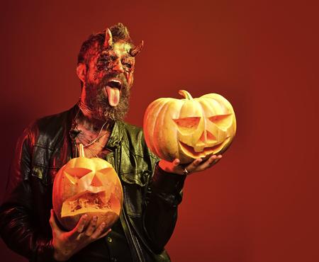 Halloween satan show tongue with jack o lanterns