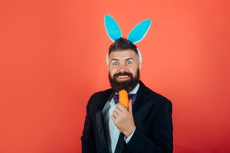 Smile easter. Happy easter and funny easter day. Bunny rabbit man with bunny ears Celebrating Easter. Stock Photo