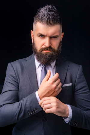 Man suit fashion. Meeting suit. Businessman in dark grey suit. Man in classic suit, shirt and tie. Business confident. Top manager. Stock Photo - 116657246