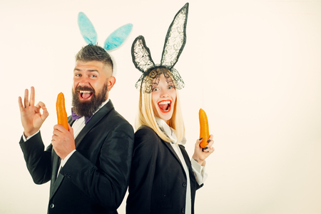 Funny easter bunny. Funny couple in banny ears. Happy easter and funny easter day. Bunny rabbit ears costume. Stock Photo