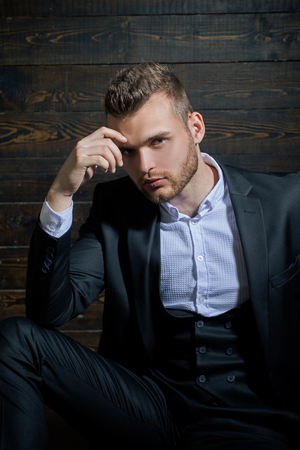 Man in classic suit shirt. Business confident. Portrait of handsome serious male model. Ambition and individuality, successful. Businessman in work.