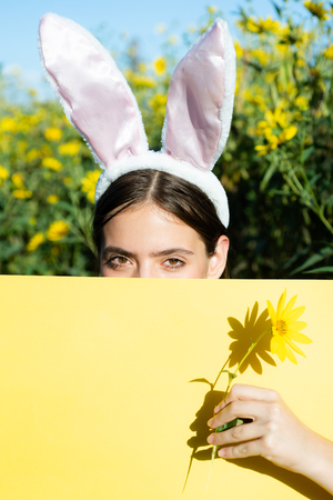 Happy easter and funny easter day. Bunny rabbit ears costume. Surprised bunny couple wearing bunny ears, copy space. Stock Photo
