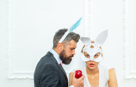 Funny easter bunny couple. Happy easter and funny easter day. Bunny rabbit ears costume.