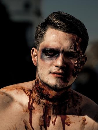 Halloween Dead demon with spooky makeup. Stockfoto