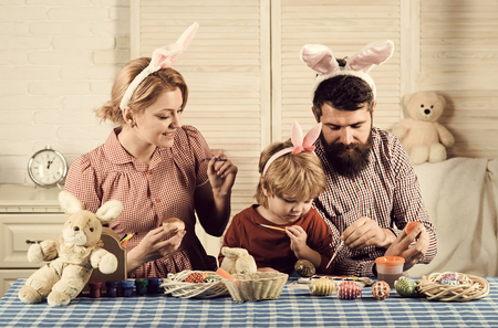 Happy family celebrate spring holiday, love, easter Stock Photo - 117234453