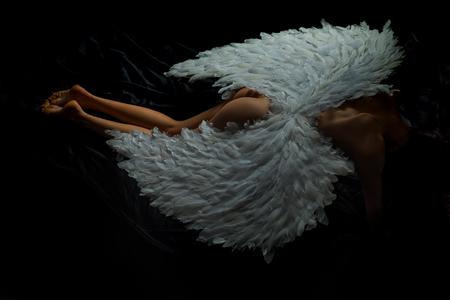 Fallen dark angel. Valentines Day concept. Sexy female. Erotic