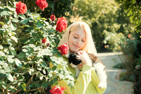 Fluffy kitten. Enjoy autumn season. Autumn is here. Pretty woman carry cat animal. Woman love animals nature background. Warmth and coziness. Happy autumn day with friend. Adorable girl hug cat Stock Photo