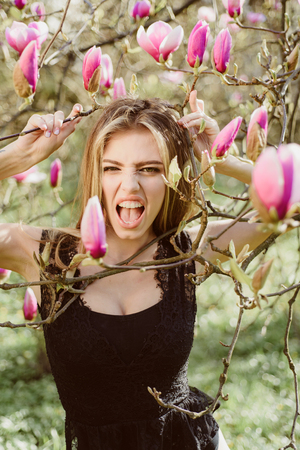 Beautiful and fashionable model girl. Style, Fashion, woman. Angry, Screaming. Feminism. Stock Photo