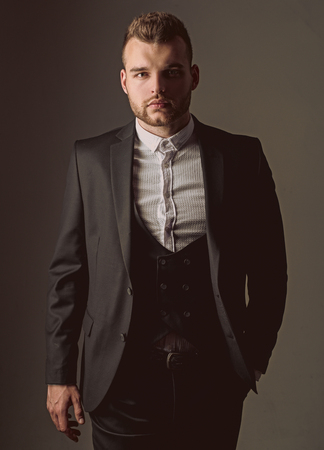 tuxedo man. Modern man suit fashion. Man in classic suit shirt. Business confident. Portrait of handsome serious male model. Ambition and individuality, success. Businessman in work. formal meeting