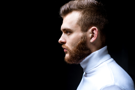 Man bearded macho close up face. Barbershop concept. Beard grooming. Hipster style beard. Handsome bearded guy. Masculinity and beauty. Well groomed bearded man stylish appearance. Hairstyle barber