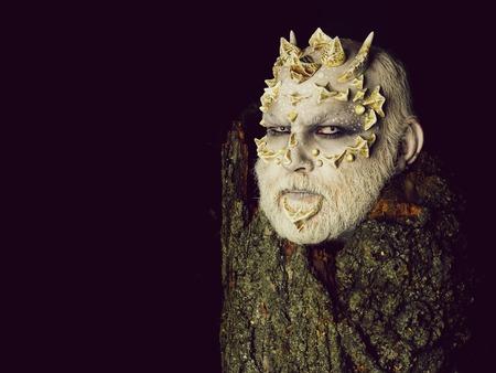 Goblin with horns on head 스톡 콘텐츠