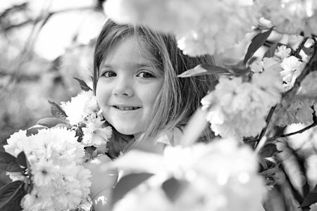 mothers day. Small child. Natural beauty. Childrens day. Summer girl fashion. Happy childhood. face and skincare. allergy to flowers. Springtime. weather forecast. Little girl in sunny spring