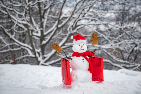 Christmas holidays discounts and winter sale. Snowman in a scarf and hat with shopping bag. Happy snowman with gift boxes standing in winter Christmas landscape.