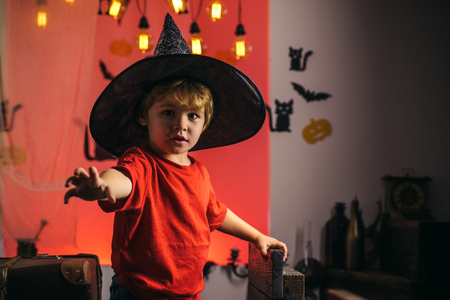 Best ideas for Halloween. Happy Halloween Stickers. Halloween holiday concept. Magic hat. Witch hat. Trick or treat. Skeleton posing with Pumpkin. Halloween party.