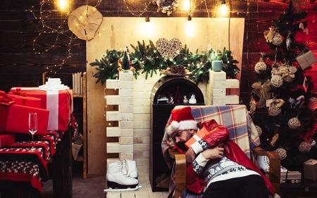 Christmas Celebration holiday. New year party. Santa drunk. 版權商用圖片
